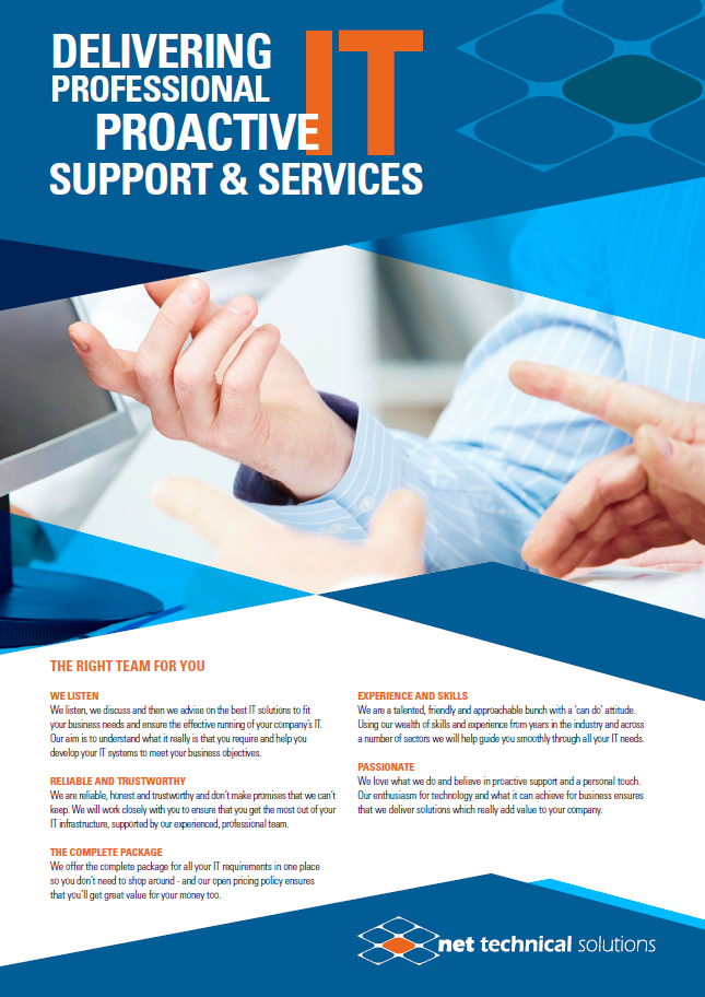 Useful resources net technical solutions for It services brochure template